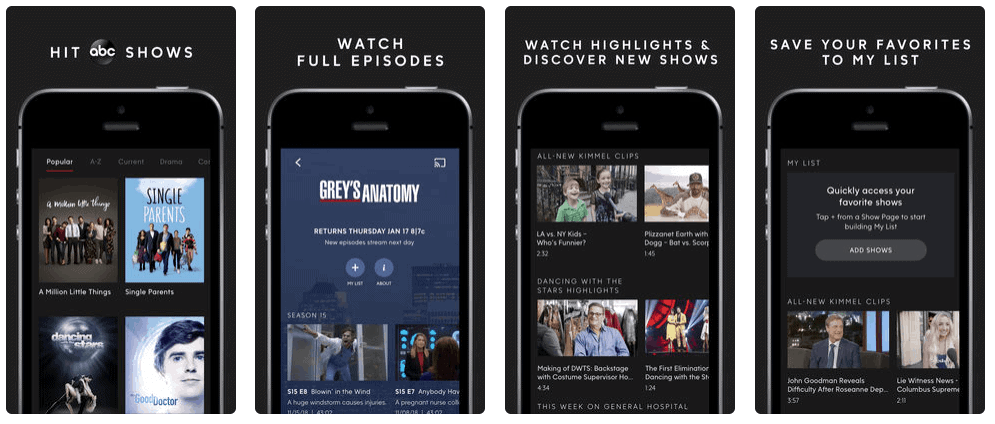 ABC Movie and Entertainment Mobile App Development Screenshots