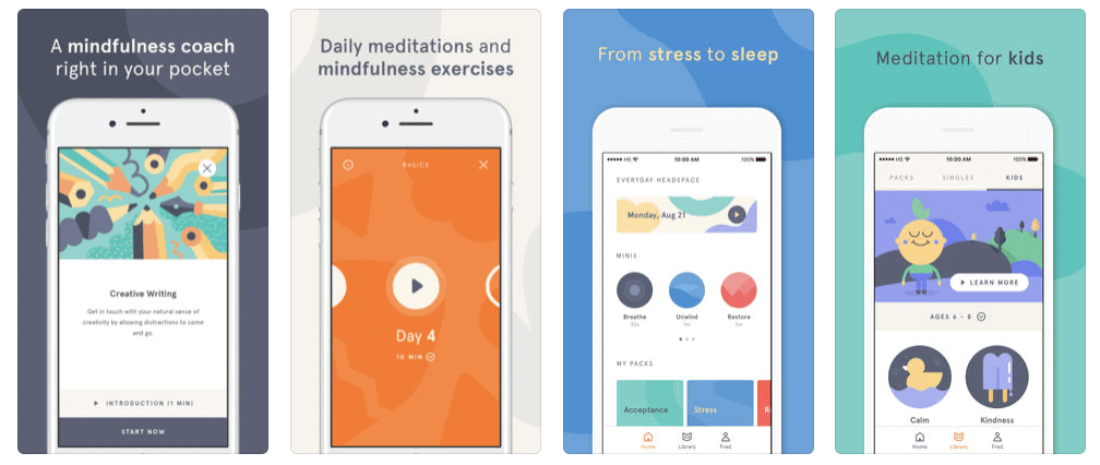 Headspace Meditation Mobile App Store Screenshot Example