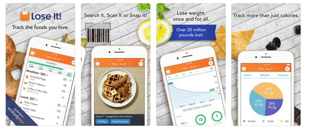 Lose IT! Health, Fitness and Calorie Checker Mobile App Store Screenshots
